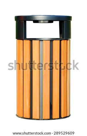 Wooden dust bin isolated over white background. - stock photo