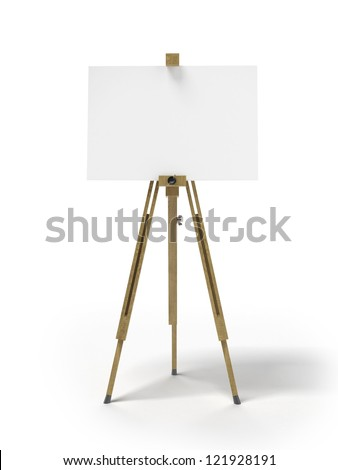 Wooden easel isolated on a white background