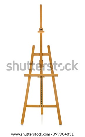 Wooden easel over white background - stock photo