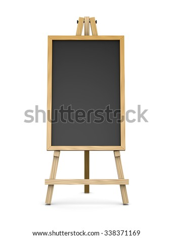 Wooden Easel Supporting a Vertical Blackboard or Chalkboard, Empty Slate Dark Coloured Board with Wooden Frame Isolated on White Background 3D Illustration