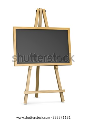 Wooden Easel Supporting an Horizontal Blackboard or Chalkboard, Empty Slate Dark Coloured Board with Wooden Frame Isolated on White Background 3D Illustration