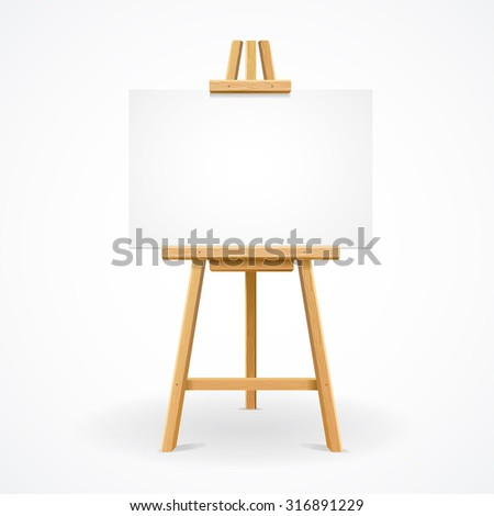 Wooden easel template for text or ad. illustration