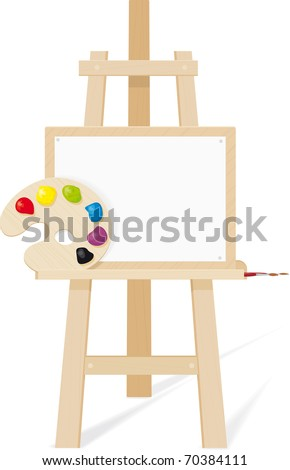 Wooden easel with a empty canvas, palette and brush raster version - stock photo