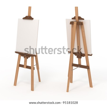 Wooden easel with blank canvas, front and back, isolated on white, with clipping path, 3d illustration - stock photo