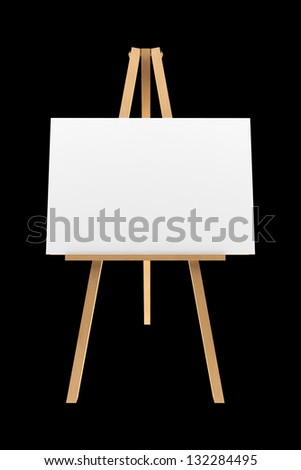 wooden easel with blank canvas isolated on black background