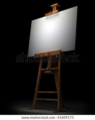 Wooden easel with blank canvas isolated on black 3D render - stock photo