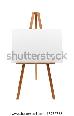 wooden easel with blank canvas isolated on white background - stock photo