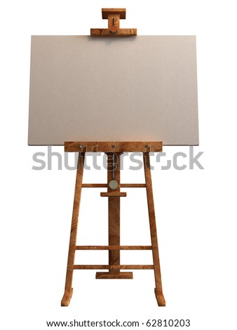 wooden easel with blank canvas isolated on white 3d render