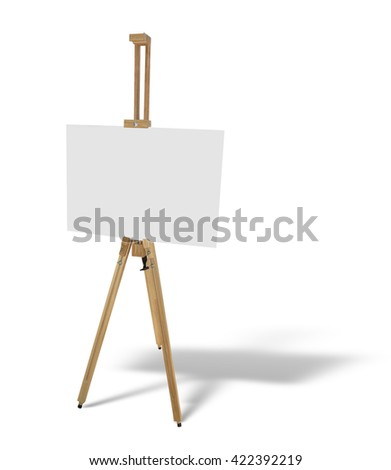 wooden easel with blank picture canvas isolated on white background