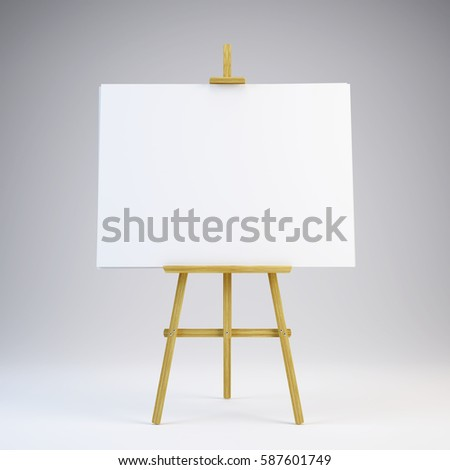 Wooden easel with blank white canvas - 3d rendering.