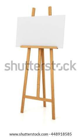Wooden easel with blank white canvas isolated on white background