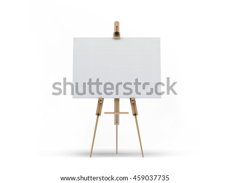 Wooden easel with blank white canvas mock-up 3D illustration