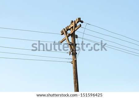 wooden Electricity post  - stock photo