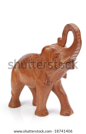Wooden elephant figurine from China. Artificial Model.