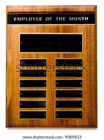 "Wooden ""Employee of the Month"" Award with Copy Space - stock photo"