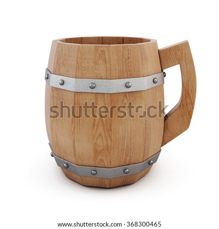 Wooden empty beer mug on a white background. 3d rendering.
