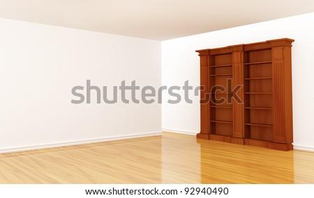 Wooden empty bookshelf in minimalist interior - stock photo