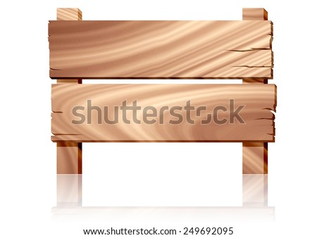 Wooden empty sign board on white background - stock photo