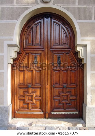 Wooden entrance door  - stock photo