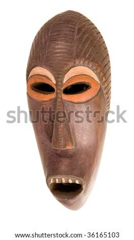 Wooden ethnic mask on white ground - stock photo