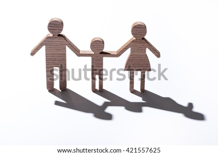 Wooden Family. Family figure isolated - stock photo