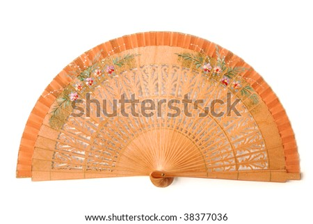 Wooden fan isolated on white - stock photo