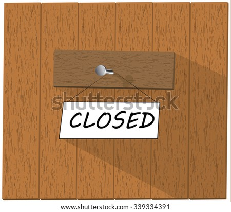 Wooden fence and a sign saying Closed,  isolated over white background illustration - stock photo