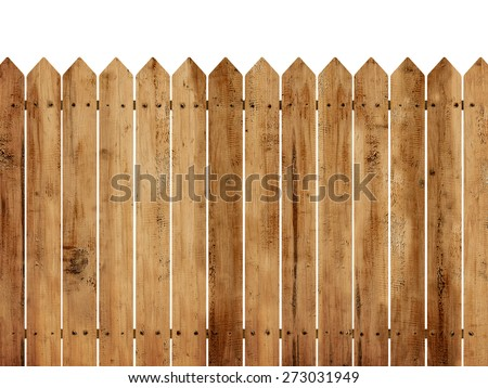Wooden fence background isolated over white background - stock photo