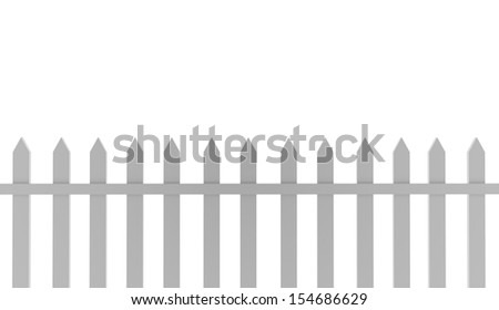 Wooden fence concept rendered on white background