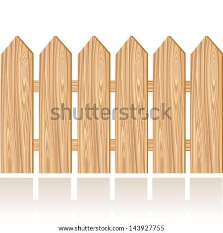 Wooden fence illustration on a white background. Raster version. Vector is also available in my gallery - stock photo