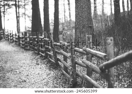 Wooden fence in black and white. - stock photo