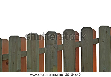 wooden fence isolated on white - stock photo