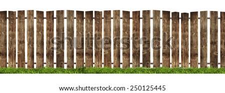 Wooden fence isolated on white background. - stock photo