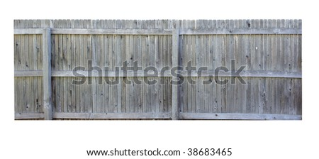 Wooden fence isolated on white background - stock photo