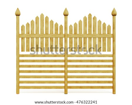 Wooden fence isolated on white background. 3d rendering.