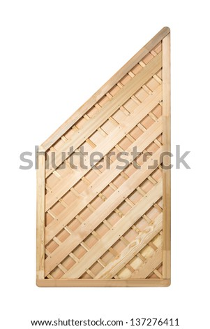 Wooden fence panel on white background with clipping path.  It can be replicated left and right. - stock photo