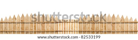 wooden fence with a gate isolated on white - stock photo