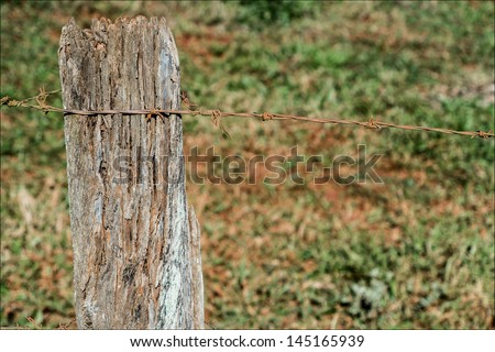 Wooden fence with barbed wire 2 - stock photo