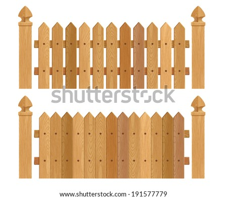 Wooden fence with columns - dark wood. Raster version.
