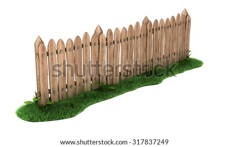 Wooden fence with grass. Isolated on white - stock photo