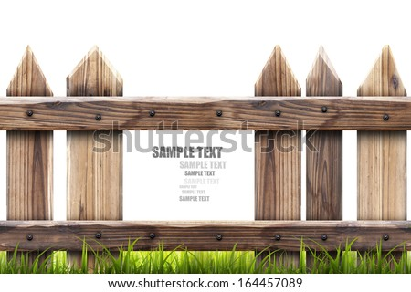 wooden fence with green grass isolated on white background High resolution 3d  - stock photo