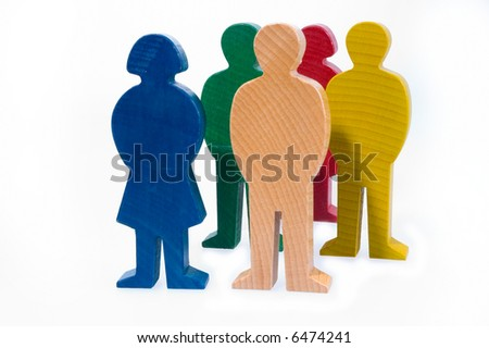 wooden figure - concept metapher symbol and object for people, family, child and woman and man - stock photo