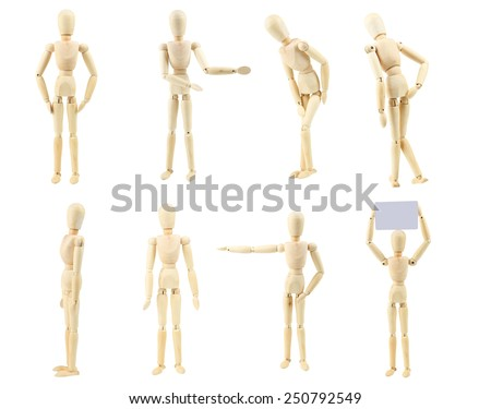 Wooden figure isolated on white - stock photo