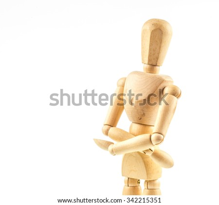 Wooden figure model  on white background