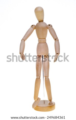 Wooden figure on white background - stock photo