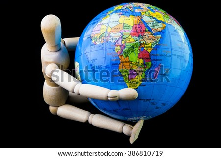 Wooden figure sitting hug globe model