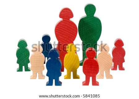 wooden figures - stock photo
