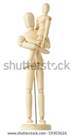 wooden figures of child sitting on hands of his parent, full body, isolated on white