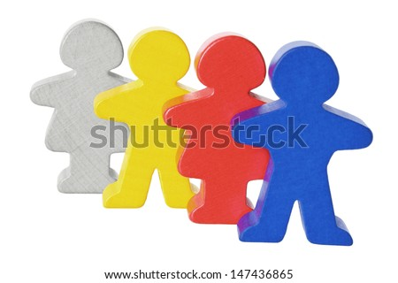 Wooden Figures on White Background