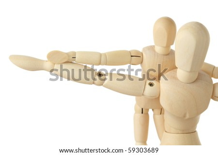 wooden figures parent and child, hands apart, half body, isolated on white